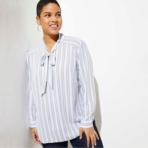 LOFT Plus Striped Tie Neck Blouse SZ 16W